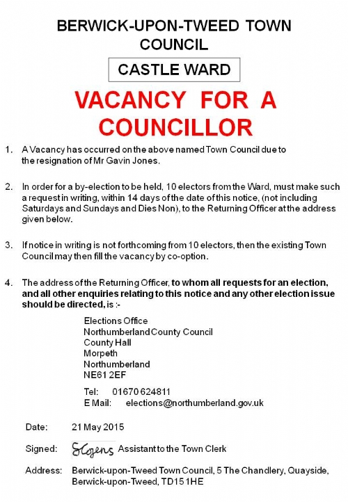 Vacancy Notice - Castle Ward - 21 May 2015