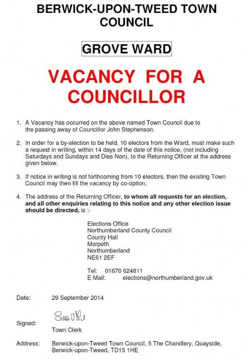 Vacancy for Grove Ward - 29 September 2014