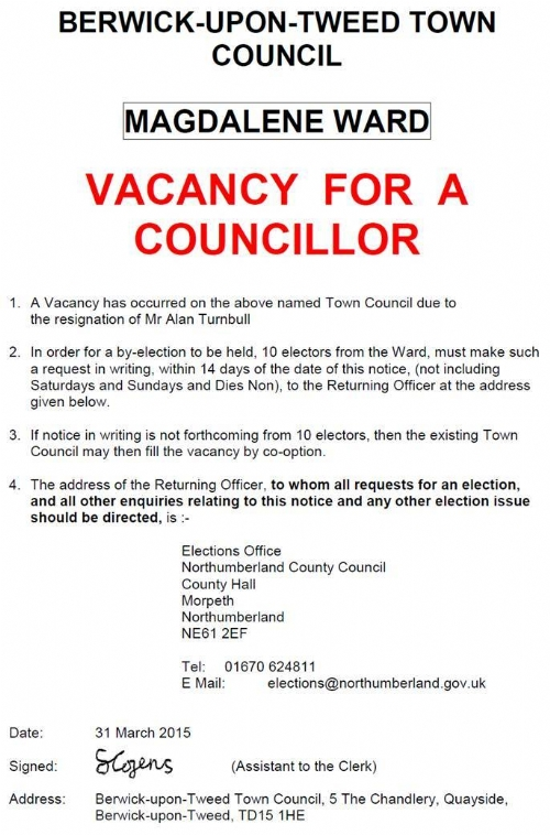 Vacancy Notice - Magdalene Ward - 31 March 2015